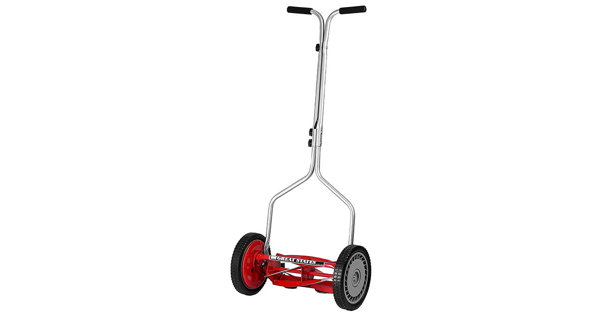 Great-States-304-14-14-Inch-5-Blade-Push-Reel-Red-Lawn-Mower-image
